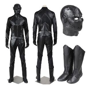 Popular super hero filme a temporada de flash zoom flash preto traje cosplay traje vilão completo com sapatos máscara para o dia das bruxas