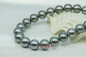 """Fine Pearls Jewelry Lustre 17 """"12-13mm NATURALE vero mare del sud SILVER GREY collana di perle 14K"""