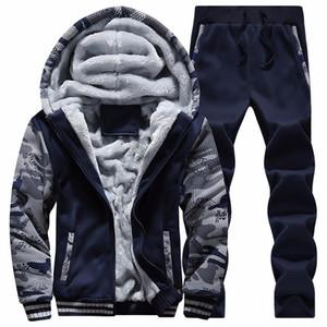 Vente en gros-Men Sweatshirts Costumes hiver chaud Sport Survêtement à capuche Casual Mode Hommes Ensembles Vêtements frais D62 Survêtement