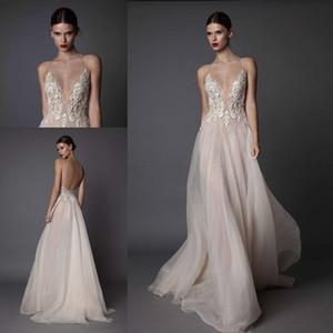 Sexy Ivory Berta vestidos de noche cuello en V profundo correas espaguetis gasa bordada sin respaldo verano ilusión vestidos largos de baile