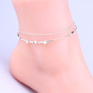 Einfache europäischen Stil Mode Sterne Pentagramm Silber Doppel Messing Fußkette feste feine Schönheit Absatz Fuß Ornamente