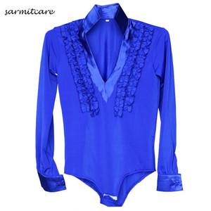Latin Dans Gömlek Erkek Erkekler için 5 Renkler Yetişkin Çocuk Boyutları D086 Samba Dans Kostümleri Tango Samba Kostüm Dans elbise Latin Gömlek
