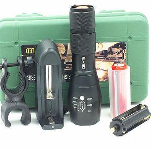 G700 E17 CREE XML T6 Ensemble de torches LED haute puissance 2000Lumens réglables avec zoom tactique à LED Lampe torche pour lampe 1x18650