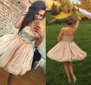 A Line Beaded Empire Ball Gown Fit & Flare Strapless Short   Mini Organza Cocktail Party Prom Dress with Printed