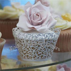 Envío gratis 50 UNIDS Little Vine Filigrana Láser Cortar Encaje Cupcake Wrapper Wraps Liner Fiesta de Cumpleaños de La Boda Decoración de la Torta Copas