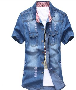 Wholesale-2016 New Mens Sommer mit kurzen Ärmeln Korean Denim Shirts Casual Einreiher Loch Männliche Jeans Shirts Plus Size Denim Tops J1451
