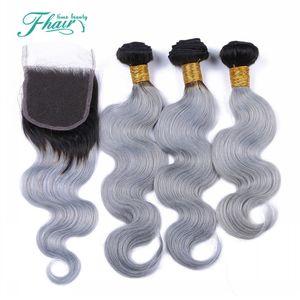 8A 1B / Gri Brezilyalı Ombre Saç Demetleri Ile Gümüş gri Dantel Kapatma İki Ton Renkli Saç Örgü Kapatma Vücut Dalga Ile 4 Adet / grup