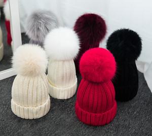 Qualità rimovibile Vera pelliccia di visone pelliccia pon pon palla acrilica berretti invernali calda cappelli a tinta unita bambini bambini Slouchy Mens Womens Snow Cap 1
