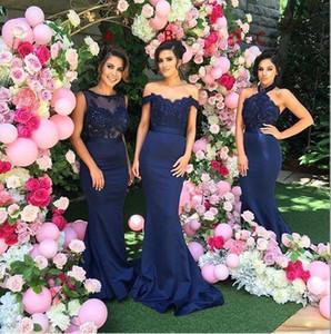 Barato elegante azul marino encaje sirena vestido de dama de honor debajo de 100 2016 por encargo formal vestidos de fiesta de noche vestidos de invitados de boda