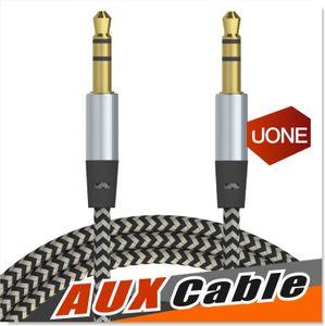 Car Audio AUX Extensão Cabo Nylon trançado 3 pés 1M com fio estéreo auxiliar Jack 3,5 milímetros de chumbo Masculino Andrio Mobile Phone Speaker