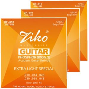 3 takım / grup 010-048 ZIKO Akustik gitar dizeleri müzik aletleri Aksesuarları FOSFOR BRONZ Strings gitar parçaları toptan