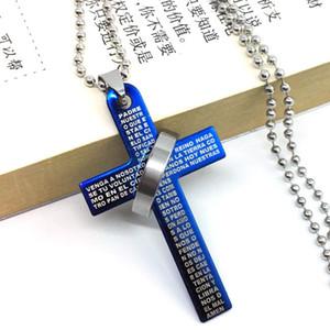 الكتاب المقدس الصليب الدائري الطوق قلادة الرجل الفولاذ المقاوم للصدأ قلادة الصليب قلادة زوجين الشحن المجاني بالجملة