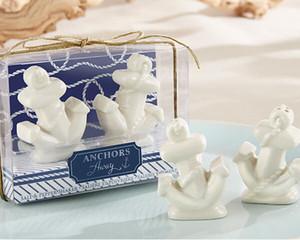 20 setleri 40 adet Uzakta Çapalar Beyaz Seramik Çapa Tuz ve Biber Çalkalayıcı Çalkalayıcılar Okyanus Temalı Düğün Hediyeleri Şekeri hediye