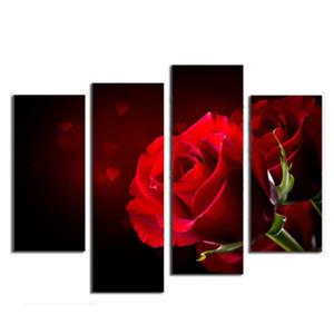 4 Combinazione di immagini Sfondo nero moderno con immagini di rose rosse Stampe su pareti decorate con pareti di tela Decor per regali dell'amante