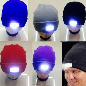 Wholesale LED Gorros de invierno que brillan intensamente con 5 LED Flash Light Novedad LED Sombrero LED para la caza Camping A la parrilla 12 colores Mezcla Aceptar Enviar por DHL