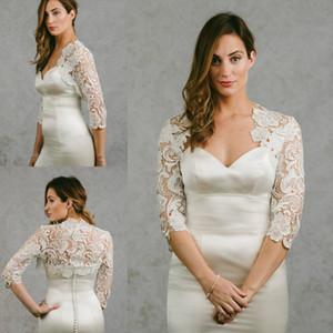 Nueva llegada 2018 Bridal Wraps 3/4 Sleeves Abrigo nupcial Chaquetas de encaje Capas de boda Wraps Bolero Jacket Vestido de novia Wraps Plus Size
