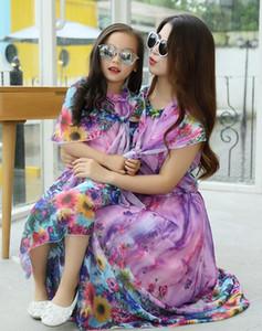 Mutter und Tochter Kleidung 2015 neue Sommerkleider Print Floral Bohemain Maxi Kleid ärmellose Chiffon Familie Kleidung heißer Verkauf