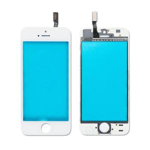 Obiettivo esterno in vetro anteriore per iPhone 5 5S 5C con cornice incassata + Pellicola anteriore pre-assemblata in film OCA nero Colore bianco