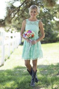 Bateau Lace Junior Bridesmaid платья дешевые мяты зеленые синие короткие вечеринки платья летняя весна для свадебных горничных честь кабриолеты