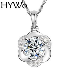 HYWo (sin cadena) 2016 Nueva Moda Plateado Colgante de Ciruela Diseño de la Flor CZ Diamante de Cristal Colgante de Joyería de Las Mujeres Al Por Mayor