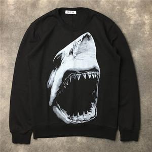 2017 가을 겨울 브랜드 남성 후드 캐주얼 스포츠 긴 소매 스웨트 남성 상어 이빨 인쇄 풀오버 코트 재킷