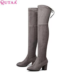 QUTAA 2017 Bayanlar Sonbahar / Bahar Ayakkabı Kare Yüksek Topuk Kadın Diz Üzerinde Çizmeler Fırçalama Siyah Kadın Motosiklet Çizmeler Boyutu 34-43