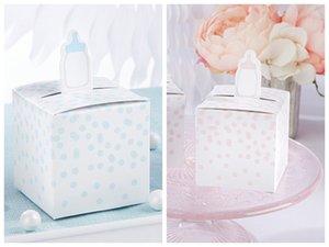 (100 Pçs / lote) Caixa de Presente de Decoração de Festa de Aniversário Do Bebê de Rosa Baby Bottle Favor Caixa Para caixa de presente do chuveiro de bebê e caixa de doces do bebê Frete Grátis