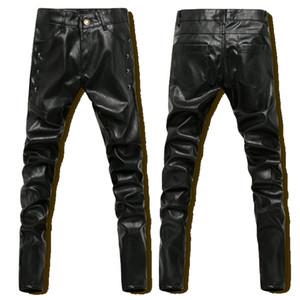 Al por mayor de Hip-Hop Pantalones de cuero para hombre Negro de cuero de imitación flaco PU pantalones de los hombres de invierno de deportes al aire libre Harem del basculador Pant Nuevo 2016