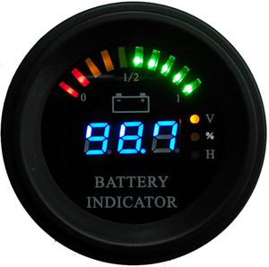 Round housing Arc line LED Digital Battery gauge discharge Indicator hour meter state of charge forklift, EV, 24V 36V 48V 60V up to 200V