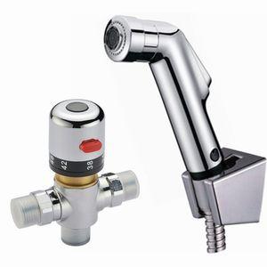 황동 밸브 욕실 38 degress 온도 조절 믹서 ValveHand 개최 Spray Shower Set Shattaf 비데 분무기 Jet water Tap Douche kit BD530