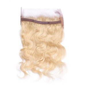 Nueva moda 360 Lace Band Frontal con pelo del bebé pelo humano ruso Blonde # 613 360 Full Lace Band Frontal Free Middle Part
