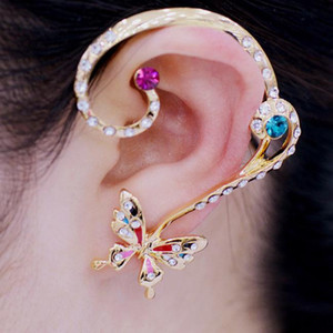 3colors Crystal Butterfly Fringe Ear Cuff Earring NO PIERCING Gothic Punk Disfraz ER554