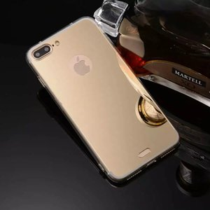 For Apple Iphone 7 Plus Case 5.5'' Transparent TPU Frame + Soft Plating Mirror Back Cover Phone Cases Shell For iPhone7 Plus