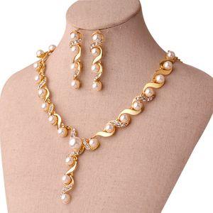 Gelin takı Inci Kolye Küpe Aksesuarları setleri ile altın kristal kolye Düğün Takı nişan takı Sıcak Satış