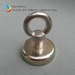 1 stücke 180LBS Ziehen Montage Magnet Durchmesser 48mm Magnetische Töpfe mit Haken oder Ring Hebe Starker Magnet Neodym Permanentmagnete NiCuNi