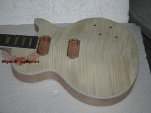 Özel Mağazalar Maun Gövde tek parça maun boyun Bitmemiş Elektrik Gitar Seti Ile Flamed Maple Top ile donanım