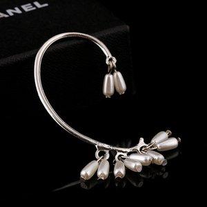 Orecchini clip Pears goccia d'acqua No Trafitto Oro Argento placcato orecchio regalo ZLDYOU nuziale imitazione perla dei monili del polsino donne