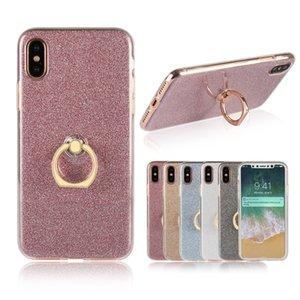 Glitter Bling Case Pour Iphone 8 7 6plus Couverture De Cas Avec Anneau Titulaire Doux TPU Couverture Coque Pour Samsung S8 S7 S6 bord Téléphone Retour Cas
