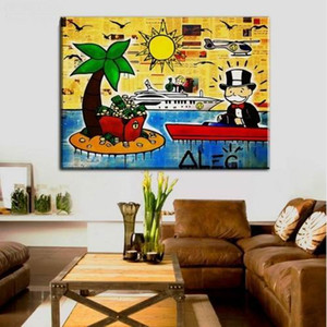 HOT SALE Handpainted Alec Monopoly Graffiti Art oil Painting sun and boat, Home Wall Art Decro On High Quality Thick Canvas Multi sizes