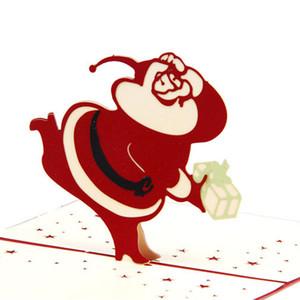 Новый 3D Pop Up Merry Chirstmas Поздравительная открытка Рождество Санта-Клаус Снеговик подарочная карта горячая Оптовая