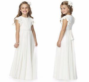 2020 Semplice increspature Flutter increspato chiffon Beauty Pageant Flower Girl Dress / bambino Junior Girl Dress con anta e fiocco HY1201