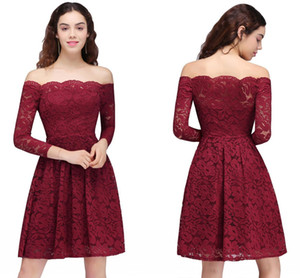 2018 Novo Design Lace Borgonha Festa Vestidos Homecoming Do Vintage Fora Dos Ombros Mangas Compridas Na Altura Do Joelho Cocktail Homecoming Vestidos CPS694