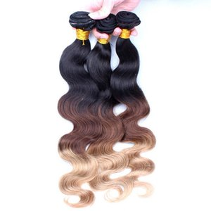 Malaysian Body Wave #1B #4 #27 Ombre Color 4*4 Lace Closure With Hair Bundles 3Pcs Virgin Hair With Closure 3Way Parting 4Pcs Lot