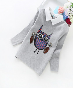 Children Clothes 2016 New Winter Korean Girls Cashmere Cartoon Crew Neck Sweater Owl Shirt Collar Pullovers