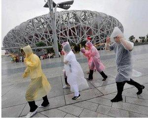 300 unids envío gratis moda adulto emergencia de una sola vez PE impermeable viaje lluvia lluvia impermeable regalos mezclados colores th89