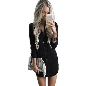 Fahsion Women Dress 2019 Otoño con impresión sólida de alta calidad para vestidos negros Mujeres con cuello en V Mini Casual Beach Vestidos Ropa