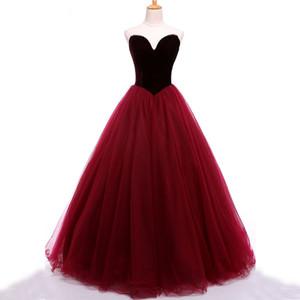 Çarpıcı Balo Dressess Koyu Kırmızı Bordo Kadife Balo Elbise Sevgiliye Kolsuz Fermuar up Tül Abiye giyim Parti Giyim