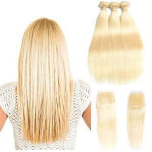 Mejor venta # 613 Blond Human Hair Bundle Lace Closure 8A Mink Brazilian Hair Bundles con cierre 3 Bundles seda peruana pelo peruano