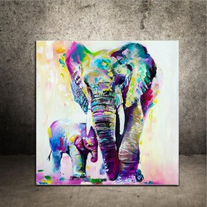 HD Imprimé Animal Peinture Abstraite Éléphant Peinture À L'huile Mur Art Photo Moderne De Mode À La Maison Décoration En Gros