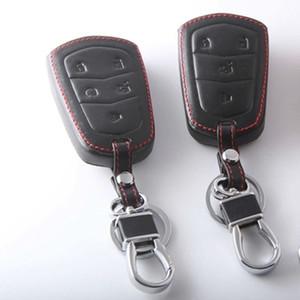 Para 2015 Cadillac SRX CTS ATS ATS-L SLS XTS Llavero Del Coche de Cuero Genuino Llave Del Coche Inteligente Fob Case Cover Anillo de Cadena Accesorio Automático